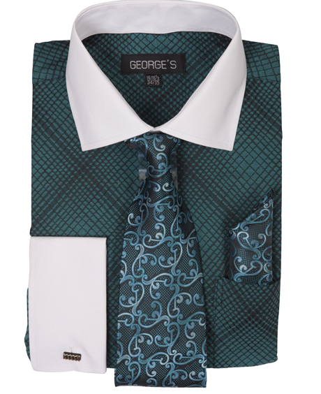 French Collar Embroidered Dress Shirt With Matching Tie