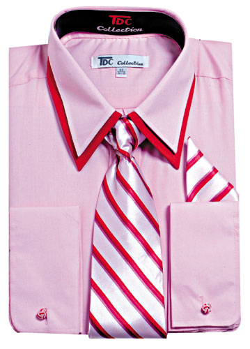 Double Collar Contrast Color Dress Shirt With Matching Tie