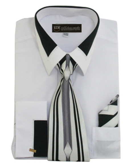 French Cuff Dress Shirt with Matching Tie and Handkerchief ...