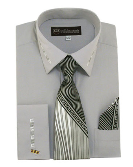 French Cuff Dress Shirt With Matching Tie And Handkerchief